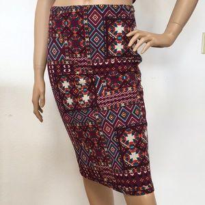 June Hudson Aztec Print Purple Pencil Skirt S